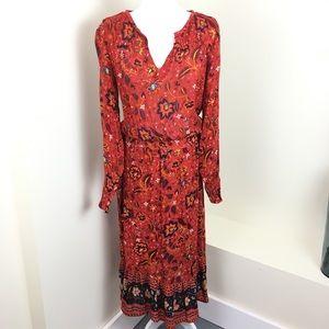 Old Navy Paisley Boho Hippie Rust Maxi Dress